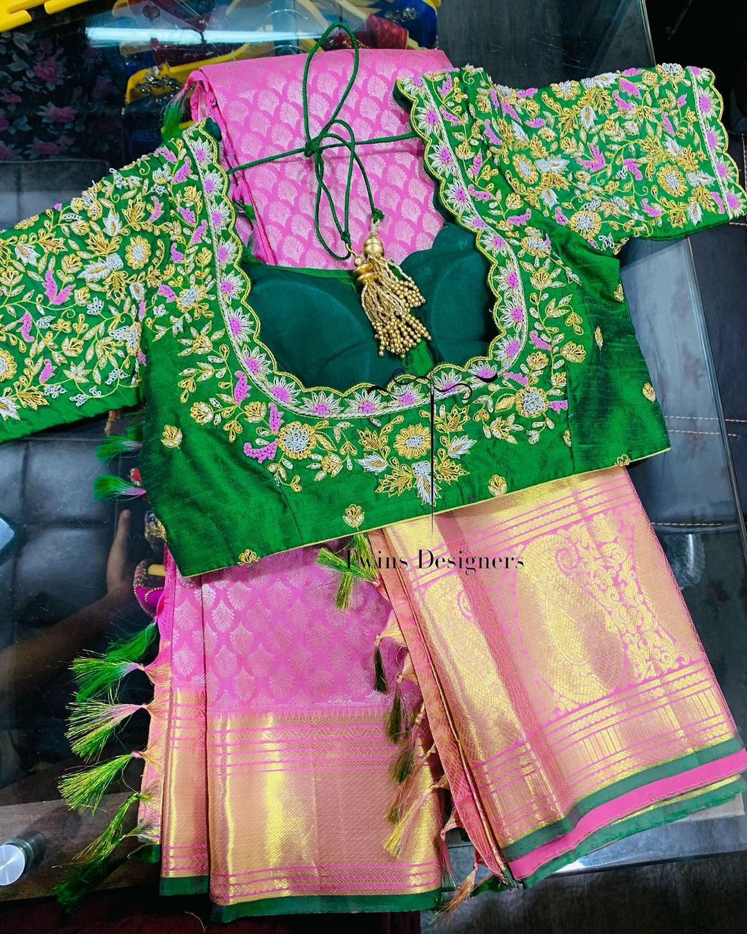 Kanchipattu saree paired with contrast maggamwork blouse.  For orders call/Whatsapp:8374504389/9059693997. 2021-08-31
