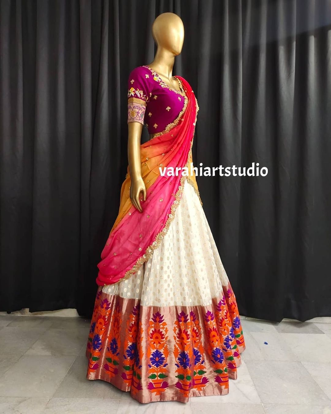 Gorgeous off white color paithani lehenga and purple blouse with multi color dupatta. Blouse with hand embroidery work.  2021-08-31