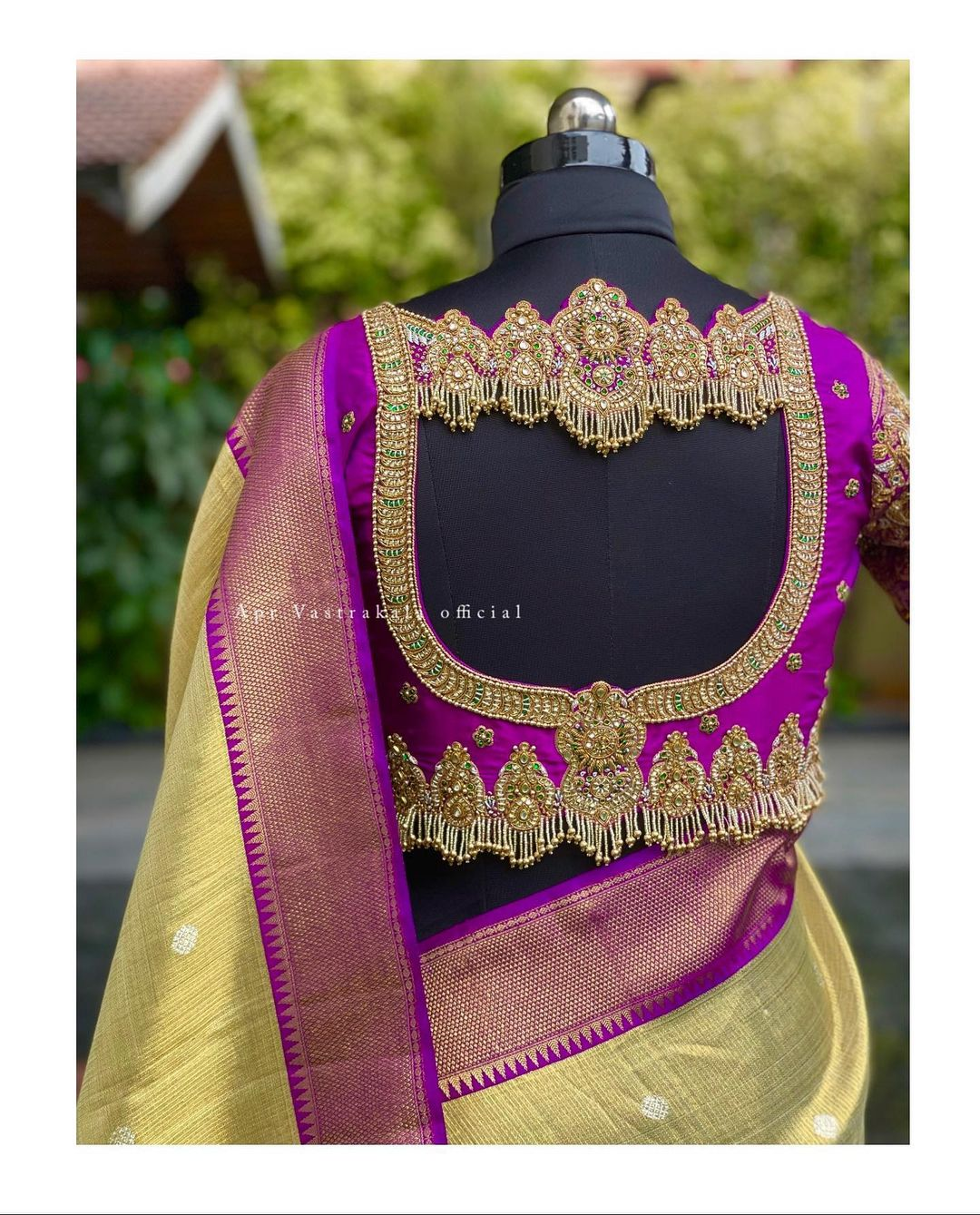 Gorgeous purple bridal blouse with jewel theme hand embroidery classy aari work. Bridal blouse with embroidery waist belt.  2021-08-31