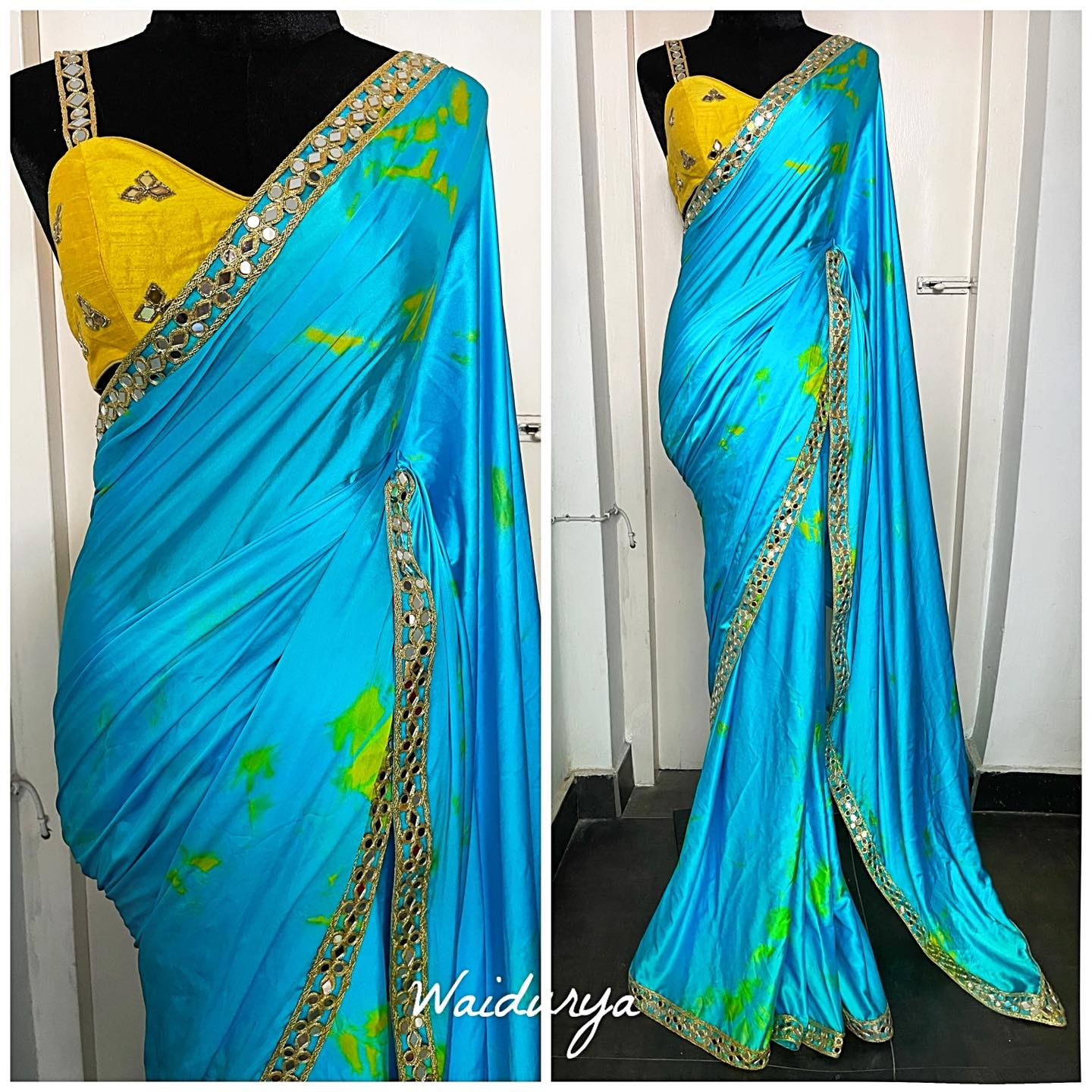 KALLY is the perfect fresh summer pop of color! It's a sky blue tie dye satin georgette with a popping yellow through it. The sari is silly and form flattering. Just drapes beautifully. The borders is a 100% pure mirror work border that is hand made. The blouse is a canary yellow raw silk with mirror work embroidery and pure mirror work straps. Looove this look entirely!!!! 2021-09-01