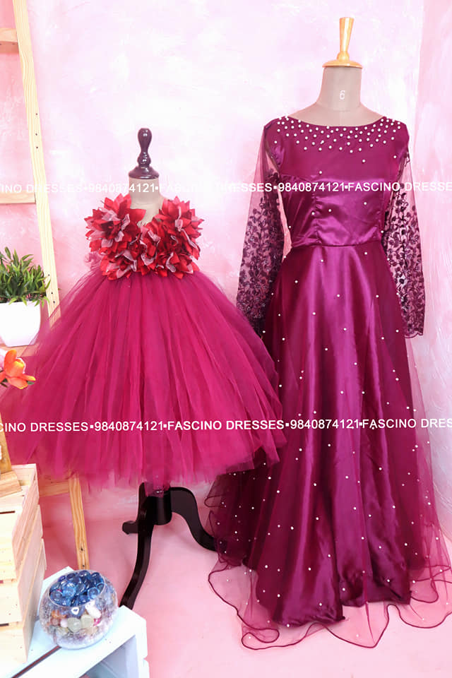 A beautiful burgandy mom and daughter combo from #Fascino  . Wats app or inbox to order 9840874121 Can customize in any color / size 2021-09-01