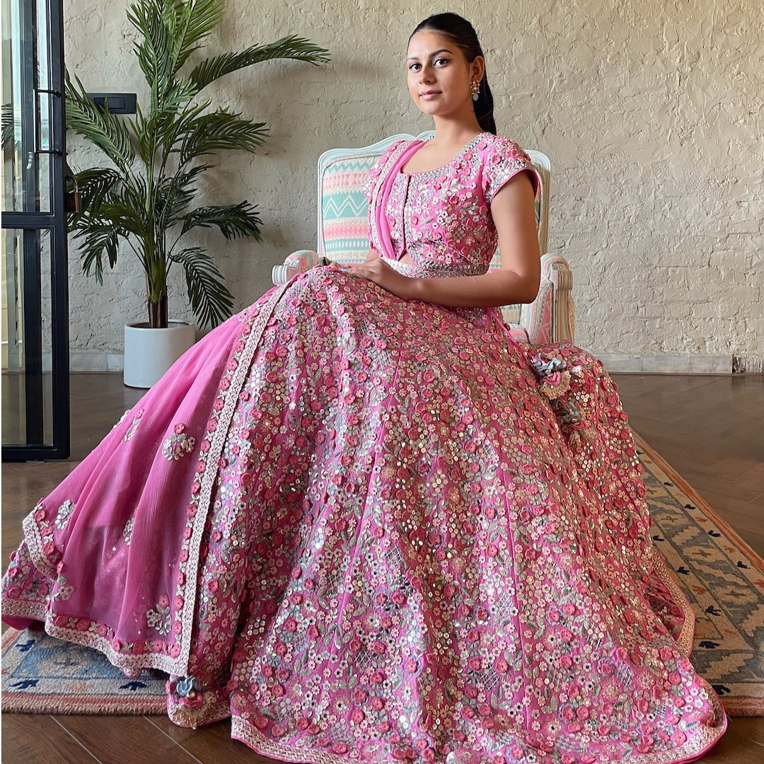 Pink Hiraya Lehenga with rich classy floral hand embroidery work.  2021-09-01