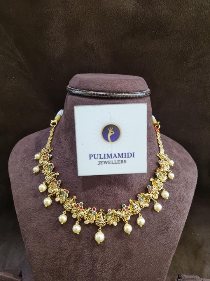 Stunning 22k gold Lakshmi devi and Ram parivar motif necklace. 2021-09-02