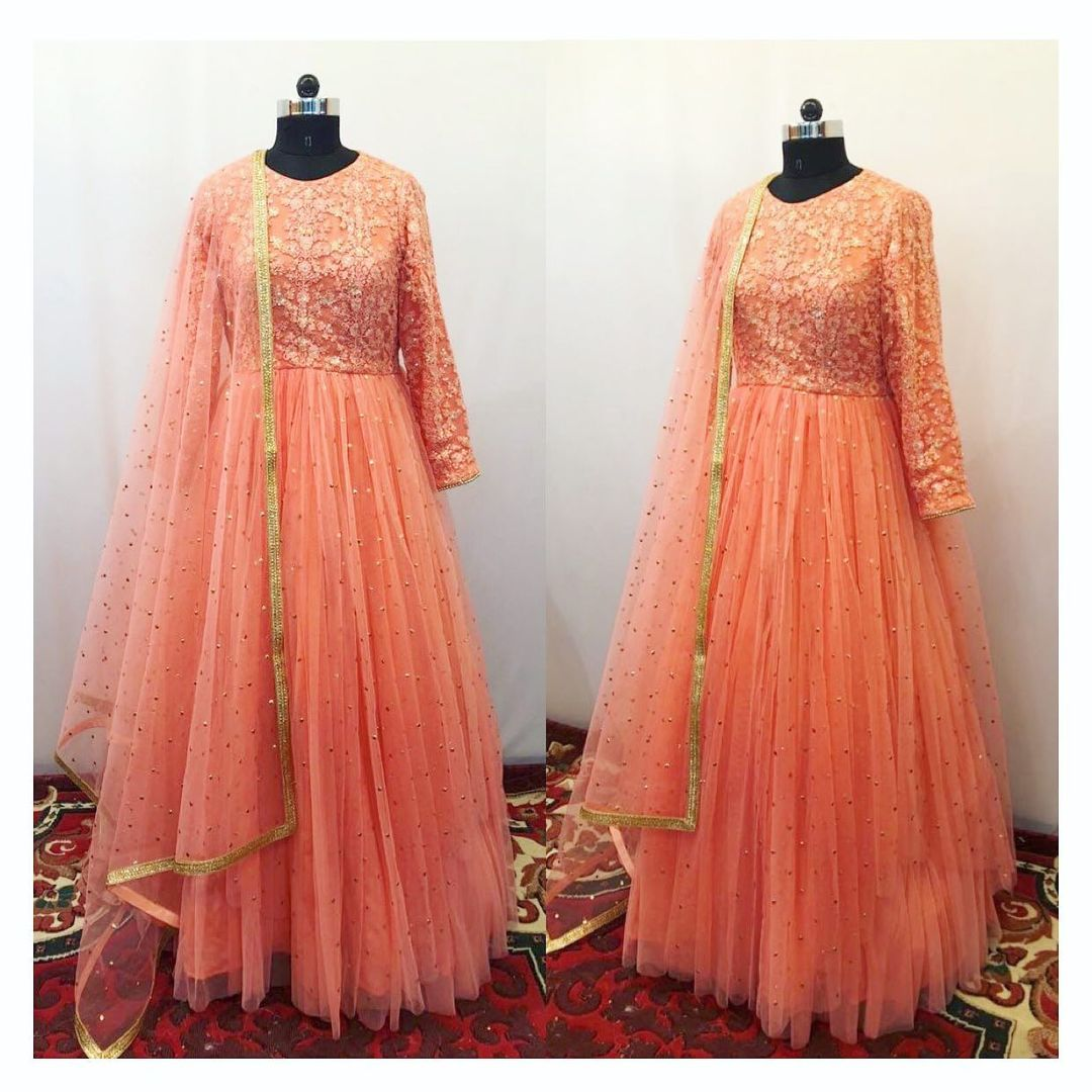Peach mukaish and thread work layered anarkali. Can be made in any color and size. To order/enquiry email at shivani@intricado.com or  Whatsapp at +918527463626. 2021-09-02