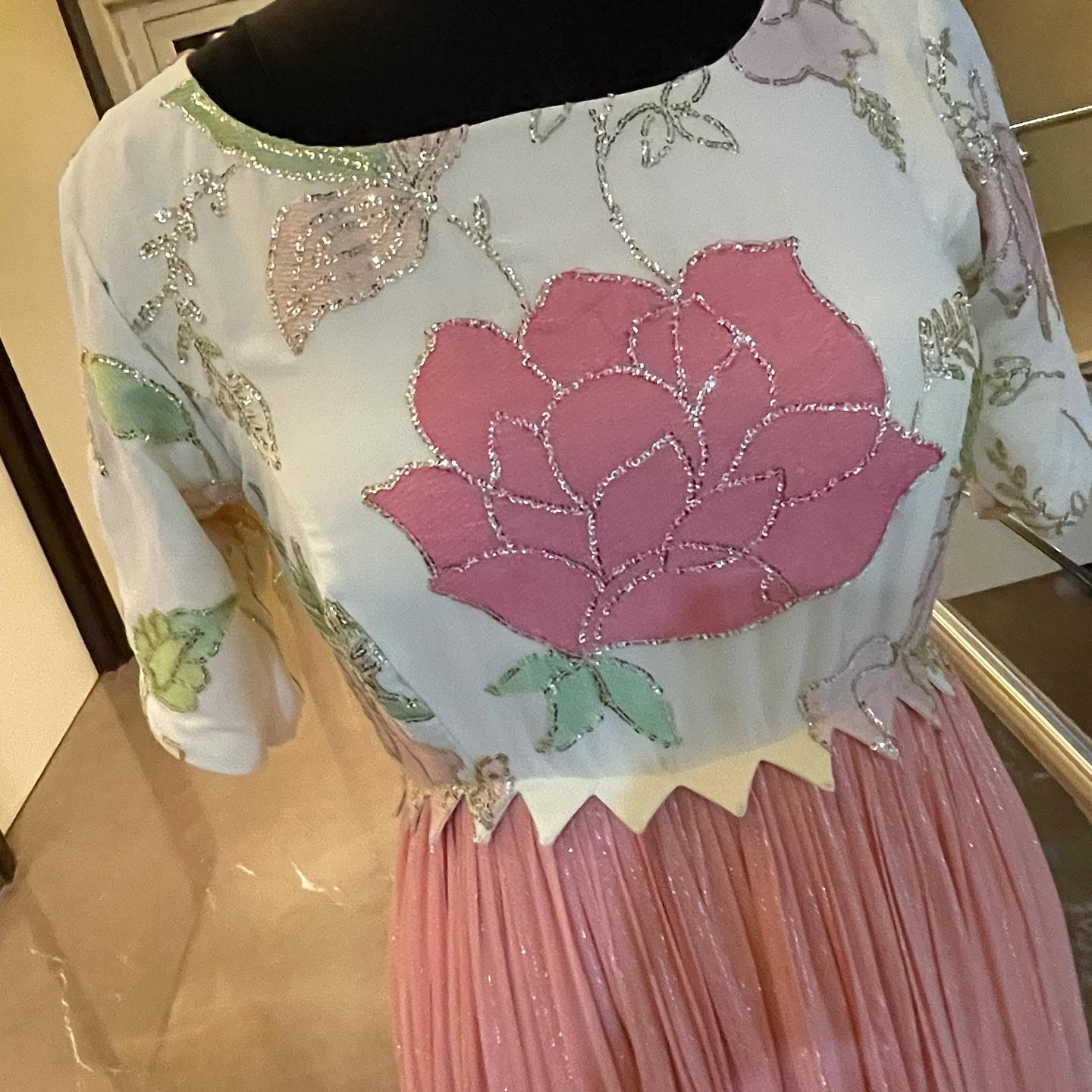 Stunning pink and white color combination Georgette long frock with lotus hand embroidery work on yoke.   2021-09-03