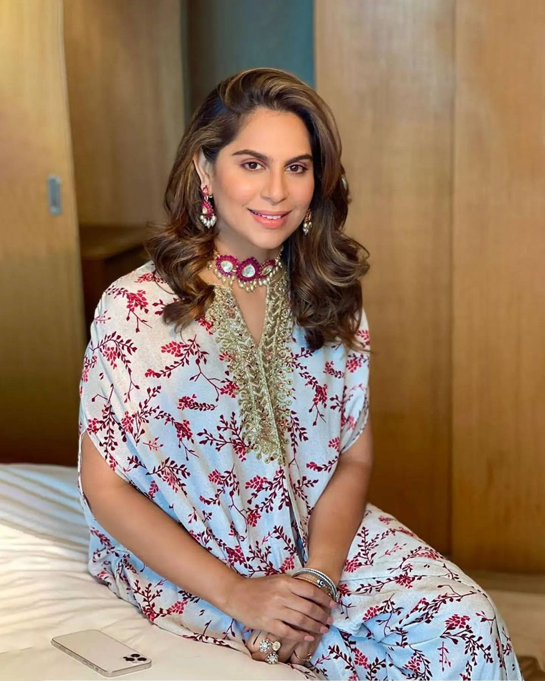 Set aside the routine Upasana kamineni konidela bringing out a new voice of style in  Mother of pearl and berry twig print yoke embroidered high low cape with kite pants. 2021-09-03