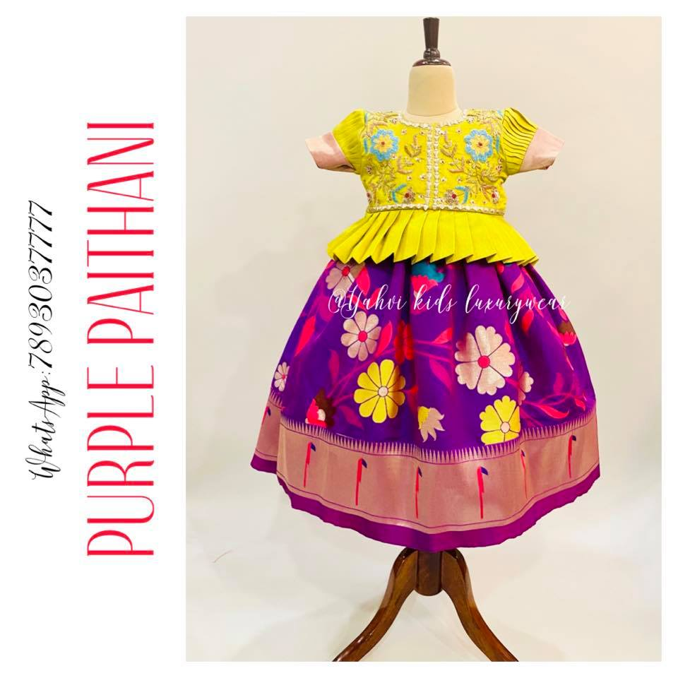 Pretty pretty purple paithani kids lehanga paired with pleated blouse . For orders : DM or whatsapp 7893037777( messages only  no calls plz )  2021-09-04