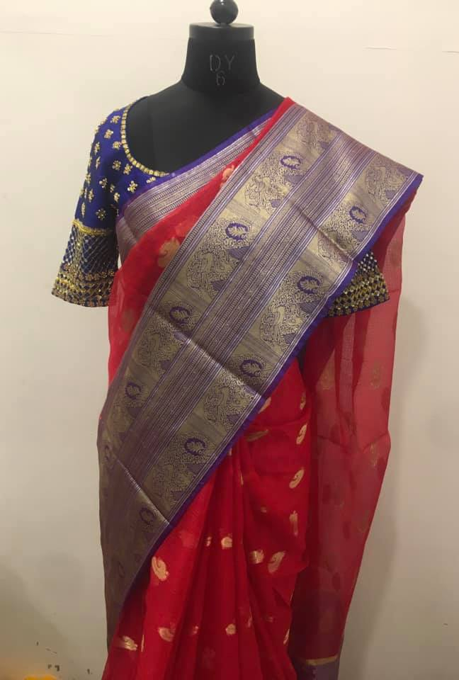 Beautiful red and blue color combination Kota silk saree - For orders please whatsapp  at 7995481918. Email - privacollective@gmail.com Call - 9160560480. 2021-09-04