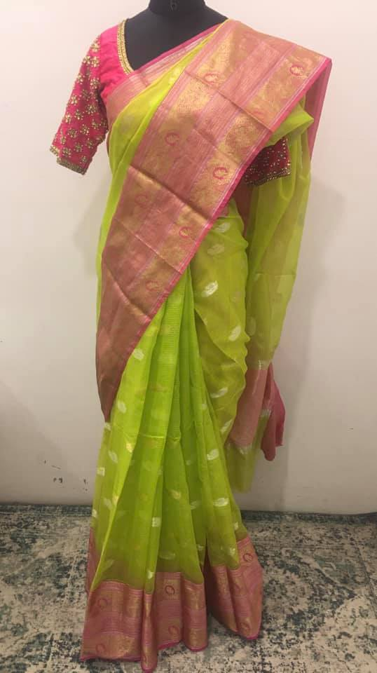Beautiful parrot green and pink color combination Kota silk saree - For orders please whatsapp  at 7995481918. Email - privacollective@gmail.com Call - 9160560480. 2021-09-04