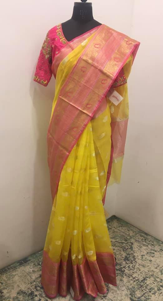 Beautiful yellow and pink color combination Kota silk saree - For orders please whatsapp  at 7995481918. Email - privacollective@gmail.com Call - 9160560480. 2021-09-04