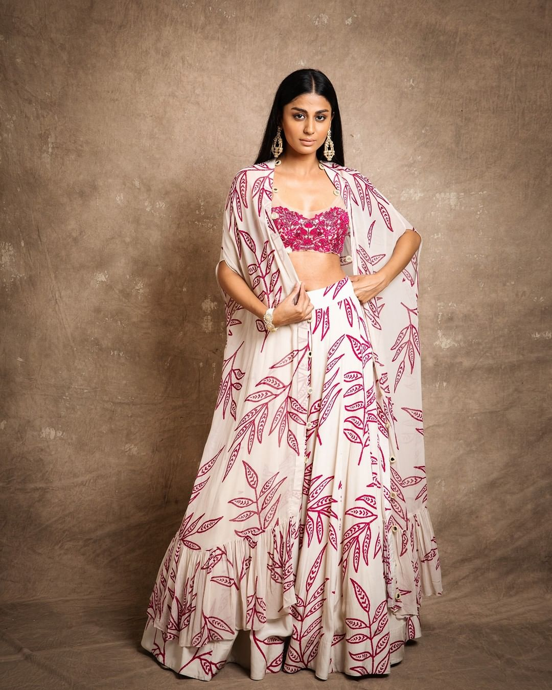Beautiful floral skirt and bustier with dupatta.  2021-09-04