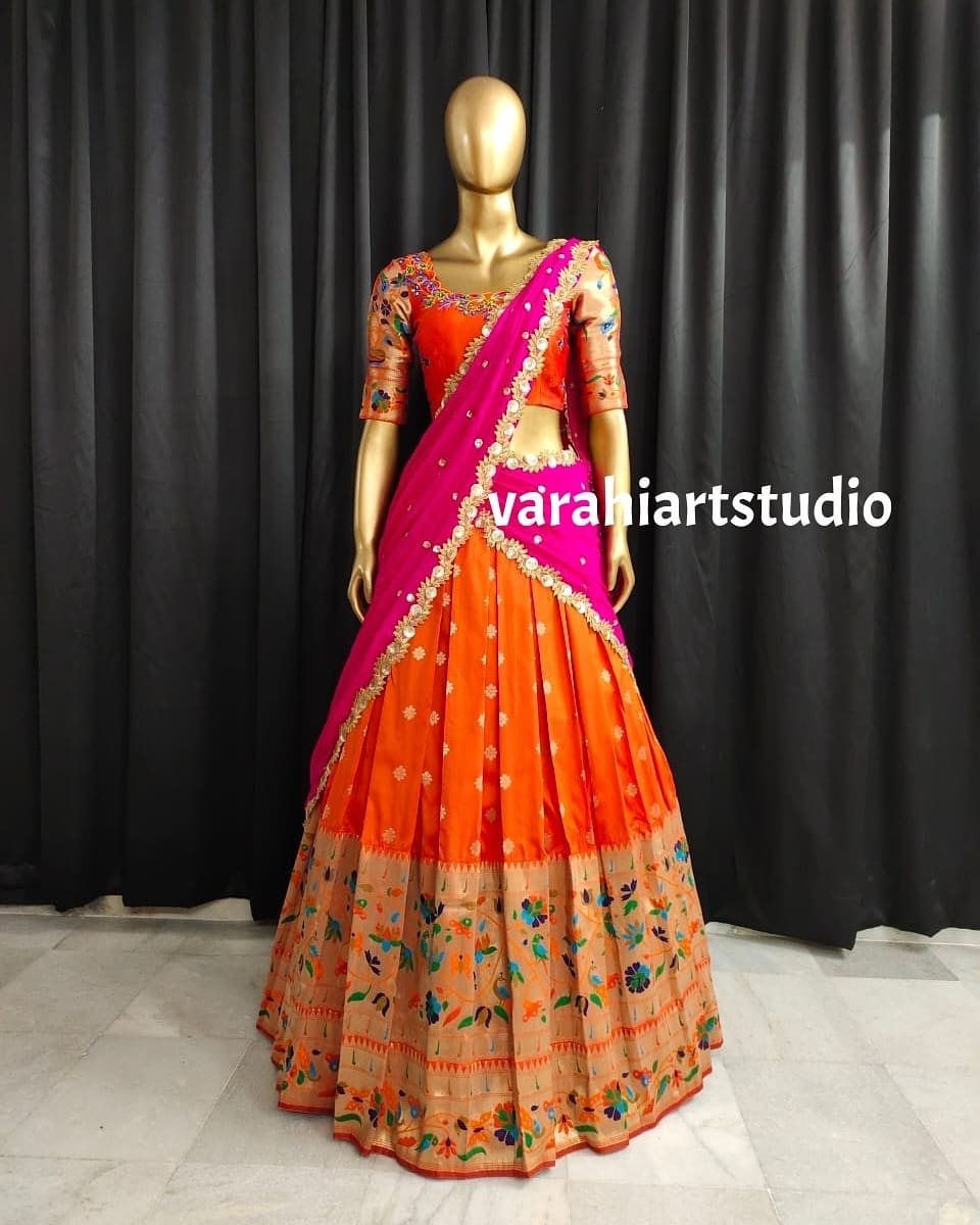 Stunning orange color paithani lehenga and blouse with pink net dupatta. Blouse with hand embroidery work.  2021-09-04