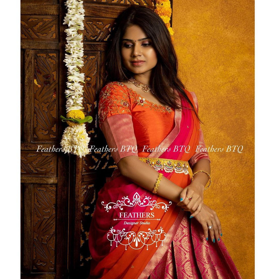 Stunning pink pattu lehenga and blouse with multi color dupatta. Blouse with hand embroidery work.  2021-09-04