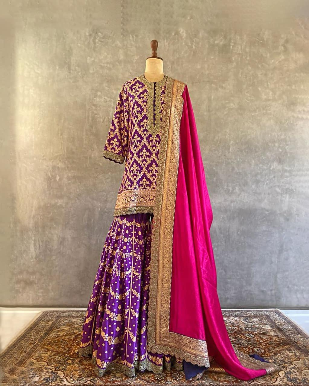 Beautiful purple benares Saharara set. Benares reminds us what it is to lean on tradition heritage and faith but also how we can take from it and make it our own-quite like the bride we design for who refuses to be defined in any absolute terms. 2021-09-05