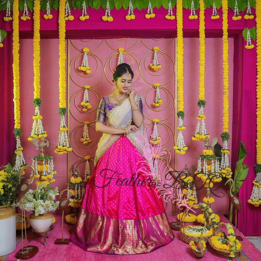 Stunning pink color pattu lehenga and violet silk blouse with net dupatta. Traditional pattu halfsaree.  2021-09-06