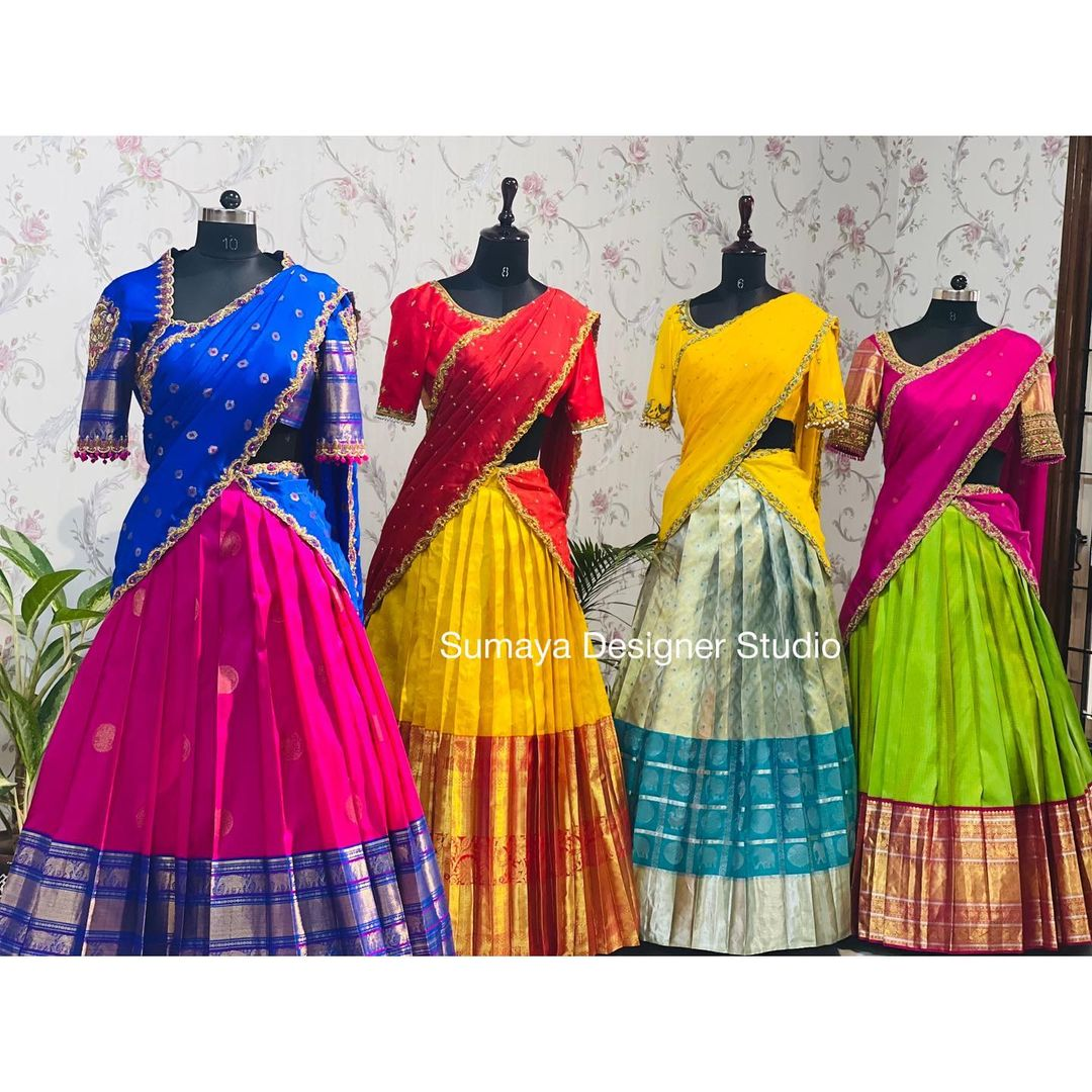 Traditional pattu langa voni collection. Best suited for festivals and small gatherings. 2021-09-06