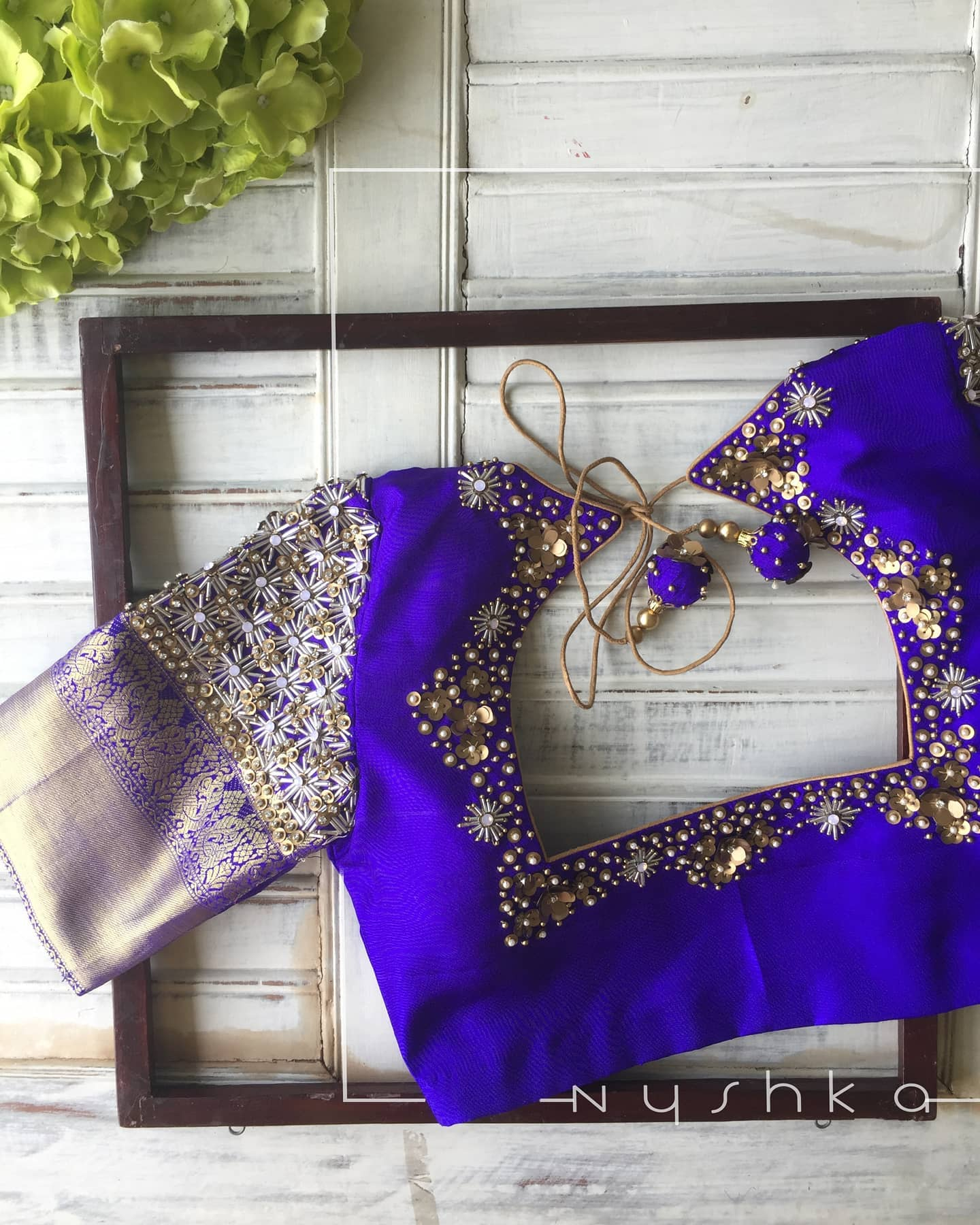 There's a season fairies wear blue! It's the colour of magic. Stunning royal blue color bridal blouse with silver and gold hand embroidery zardosi work. 2021-09-07