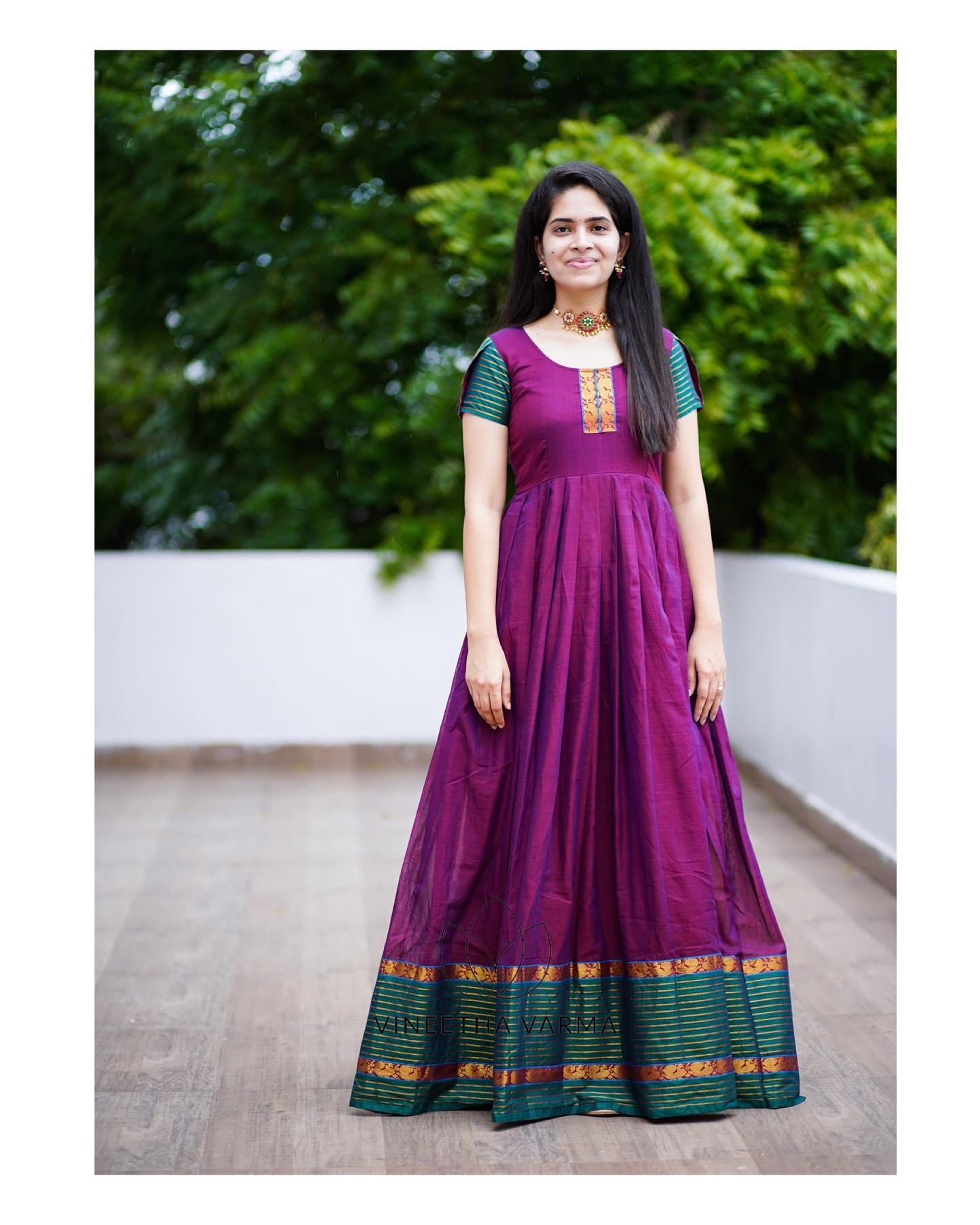 Narayanpet handloom maxi  composed with  peacock zari border. Price : ₹3800.00/- 2021-09-08
