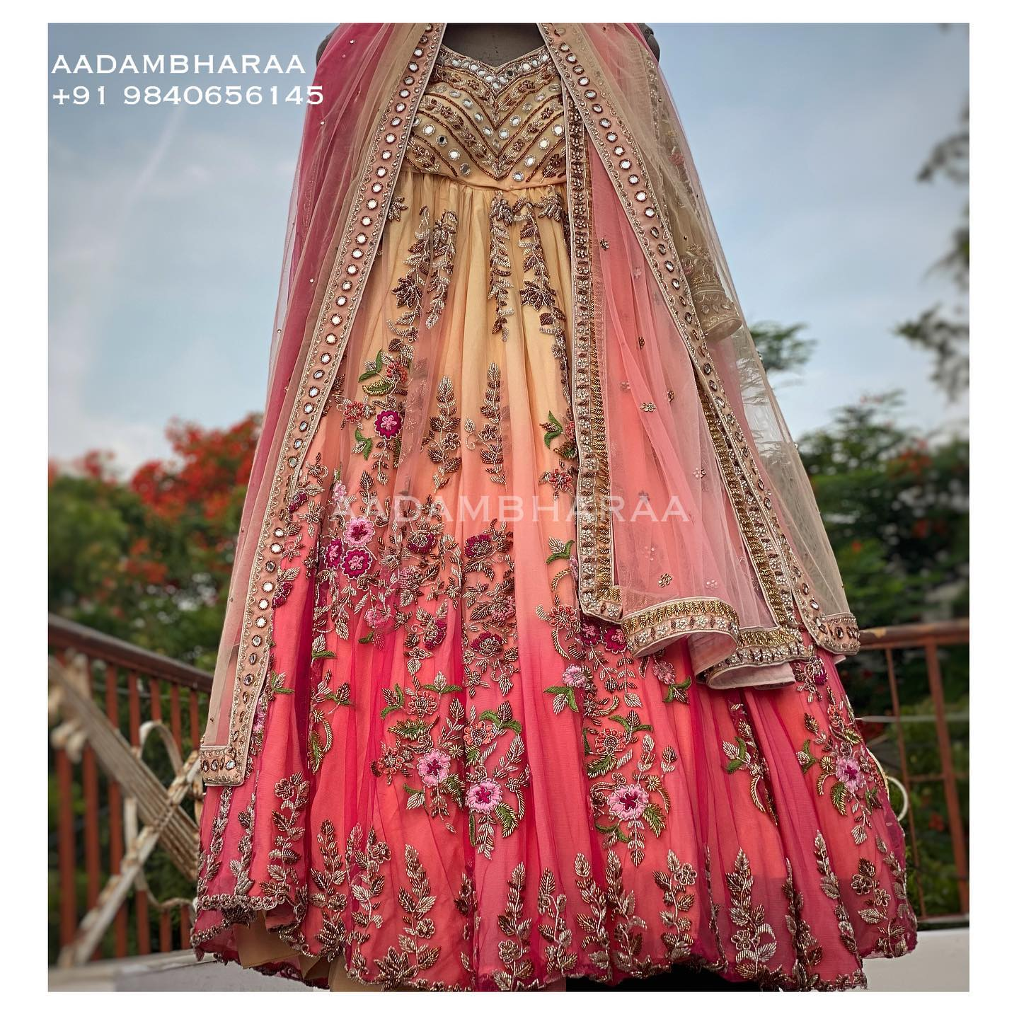 Be a vision on your big day donning pastel lehenga which is the perfect blend of feminine radiance and beauty. The lehenga and blouse are completely hand worked with elaborate embroidery on the net sleeves.  Contact  for Customisations +91 9840656145. 2021-09-08