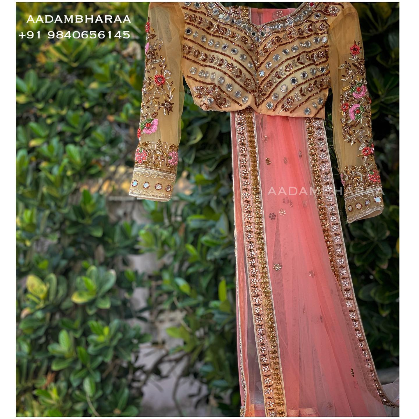 Stunning pastel blouse with hand embroidery floral thread work on sleeves. Blouse with mirror work.  2021-09-08