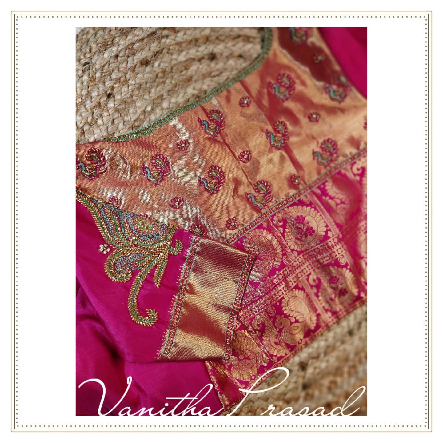 Who said big long borders always belong to the sleeves. Beautiful pink bridal blouse with long border with peacock hand embroidery work.  2021-09-08