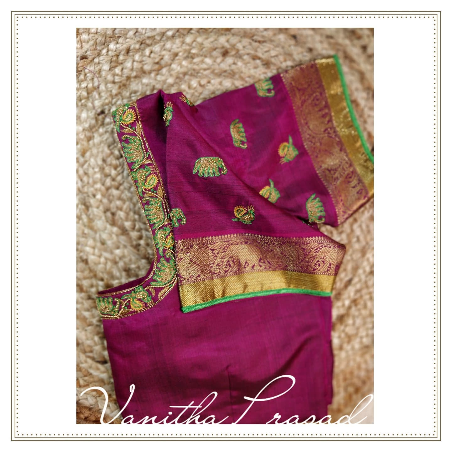 Gorgeous purple color bridal blouse with elephant and peacock hand embroidery aari work.  2021-09-08