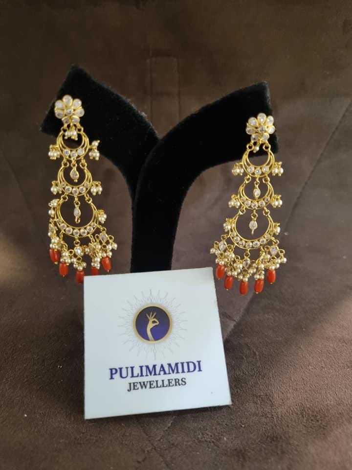 Beautiful 22k gold earrings and black bead long haaram. 2021-09-08