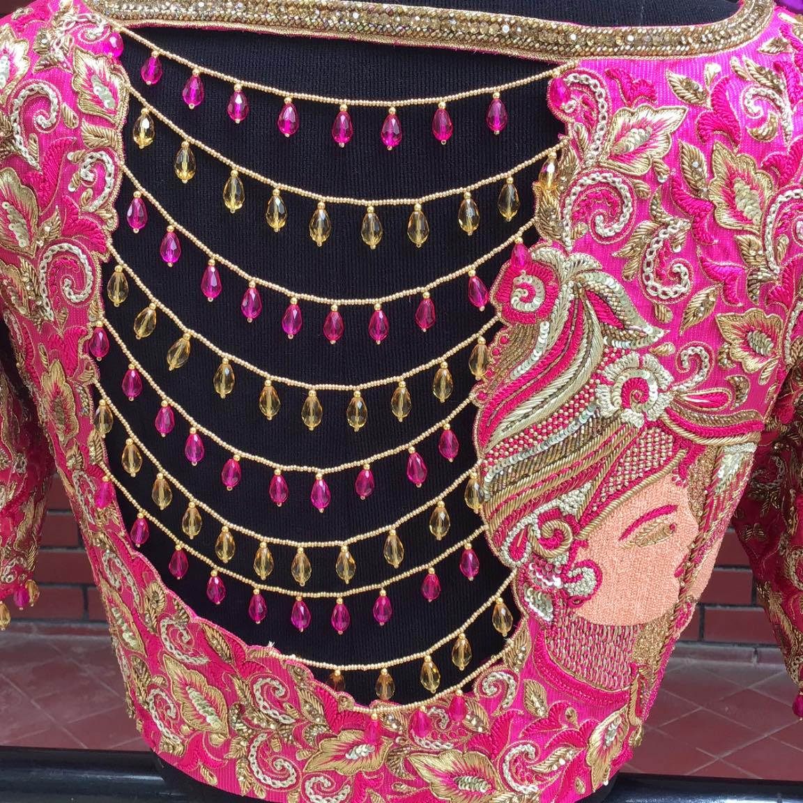 The embroidery in this blouse is so intricately done using zari metallic thread silk thread sequence work different embroidery stitches and styled with jade-crystal to give that added bling to the bridal blouse to make pretty bride To look prettier on her Big day. 2021-09-08
