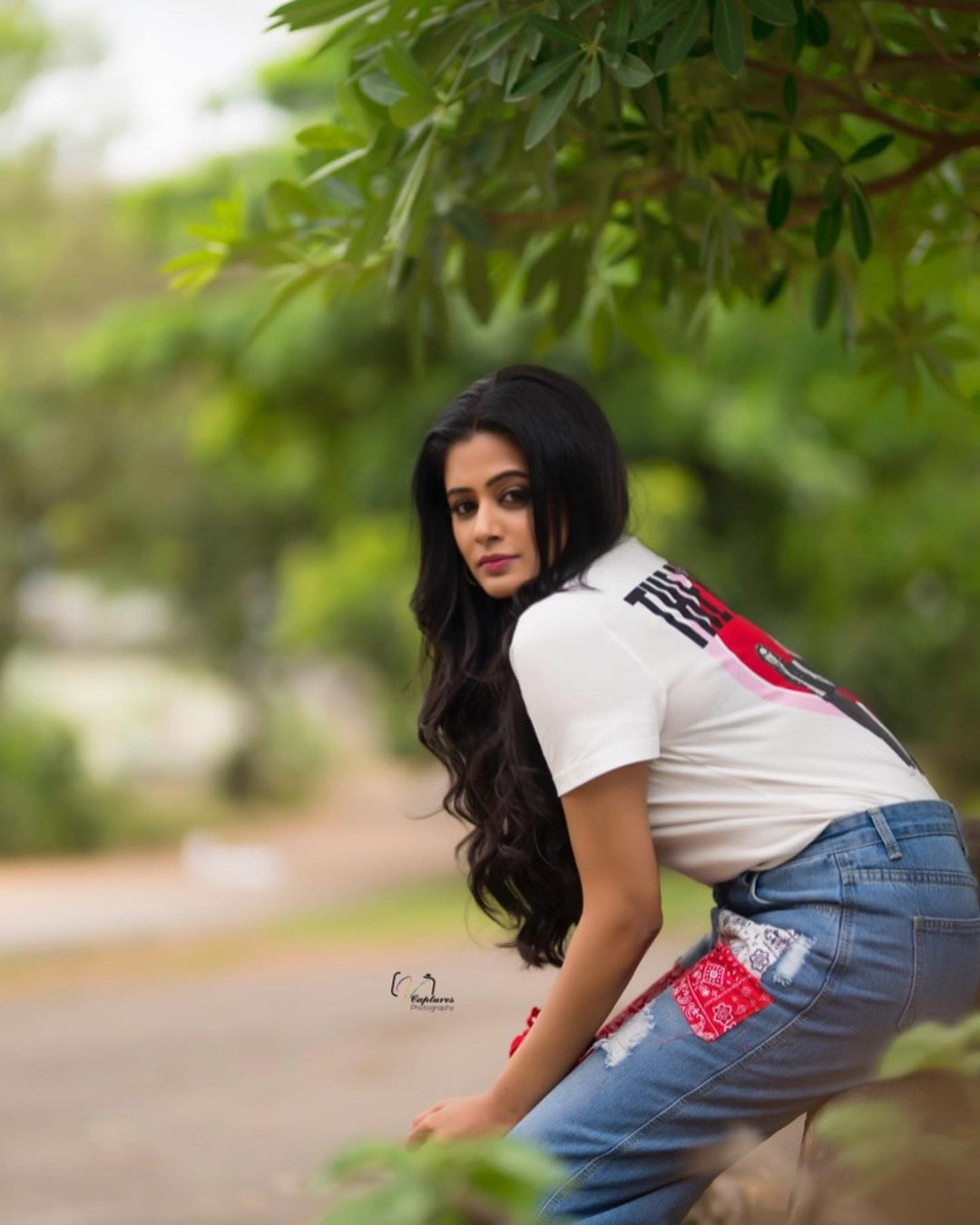 Beautiful actress Priyamani in jeans and T shirt. Tshirt : Only India. Jeans : Urbanic.  Styling: Mehek Shetty. 2021-09-08