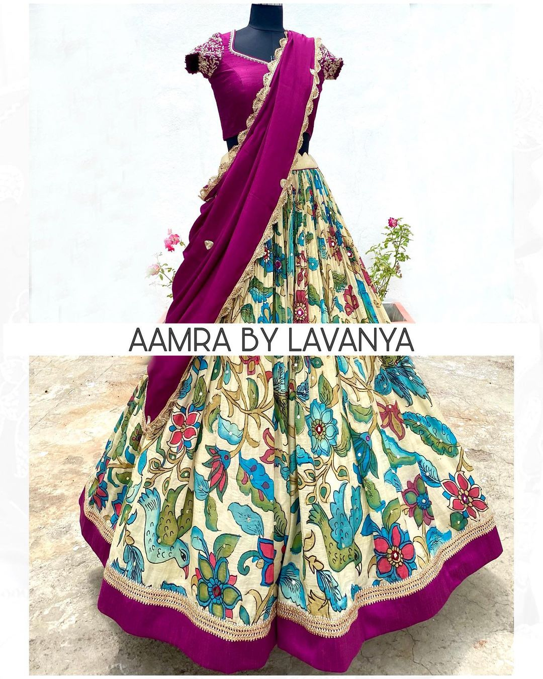 Hand painted and hand embroidered pen kalamkari silk lehenga paired with a hand embroidered croptop & dupatta. For orders and queries call/whatsapp on +91-9177363970. 2021-09-08