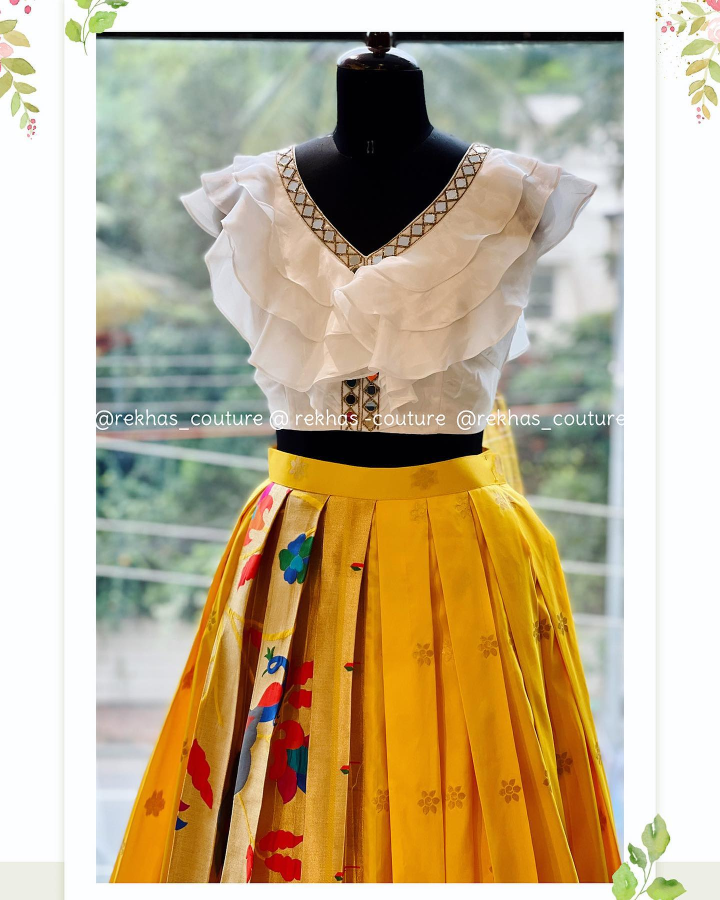 Bright yellow and subtle white !! What a combination. Beautiful bright yellow paithani skirt and ruffle crop top. 2021-09-09