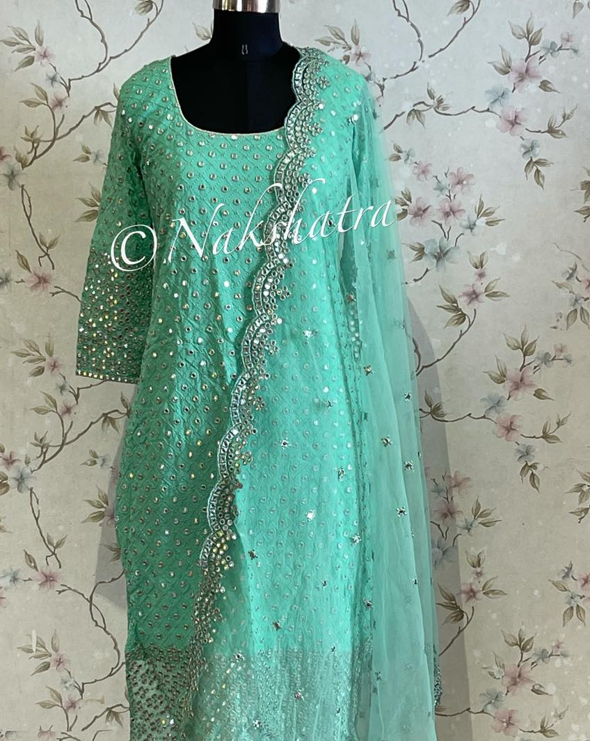 Beautiful cyan Gorgette mirror work straight suit with scalloped dupatta . 2021-09-09