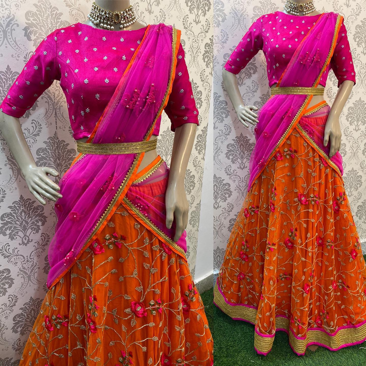 Pink and Orange combo which will never go wrong ..!!  Watsapp on 8072774265  Party wear Leganha with perfect colour combo and perfect look for your next special occasion .!!! 2021-09-09