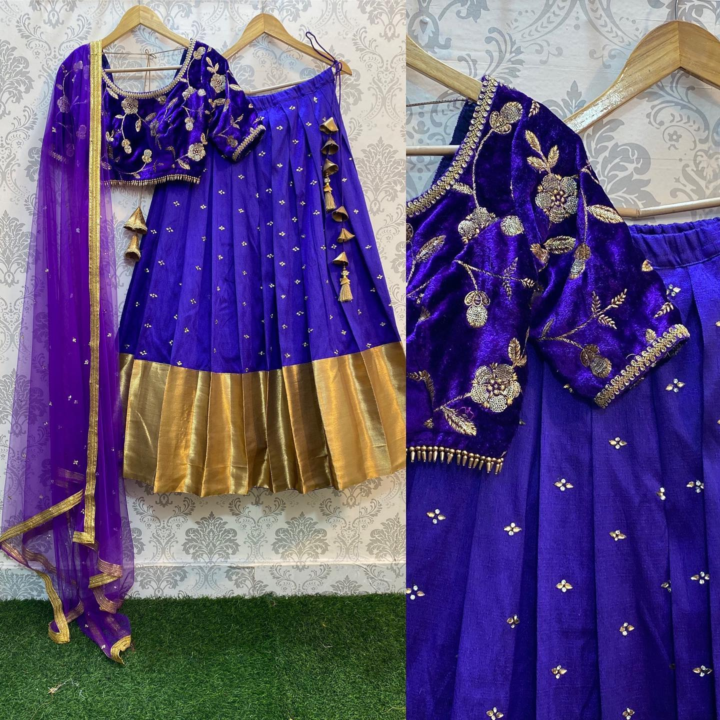 Silk Skirt with liquid golden border and heavy beaded works and velvet Embroidery blouse and neck details with netted Duppata..!!  For orders watsapp us on 8072774265 Mail us on orders@Threadslabel.com 2021-09-09