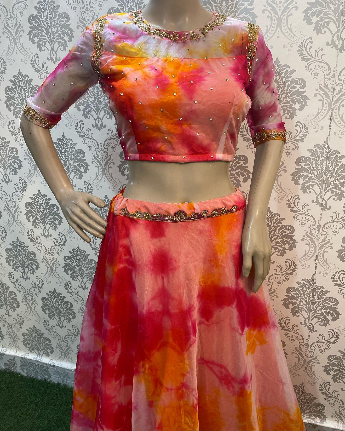 Pure organza with heavy hand work all over the crop top with matching organza skirt ..!!  Watsapp us on 8072774265… 2021-09-09
