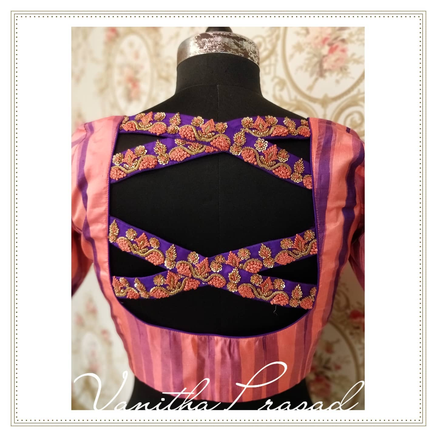 Unconventional back neck designs for the busy printed blouse materials that come with sarees. 2021-09-09