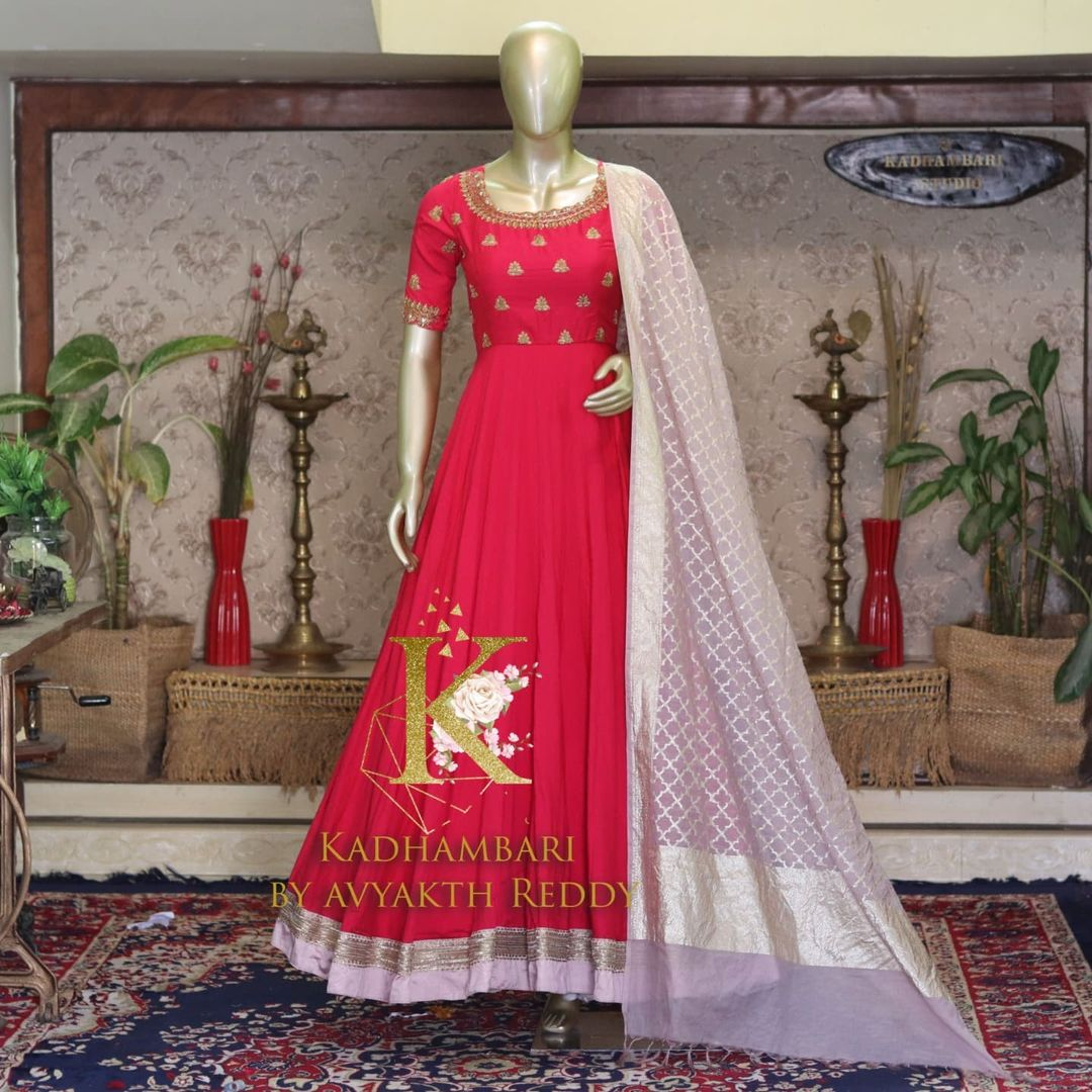 Stunning red color floor length long frock with gold thread hand embroidery maggam work on yoke.  2021-09-09