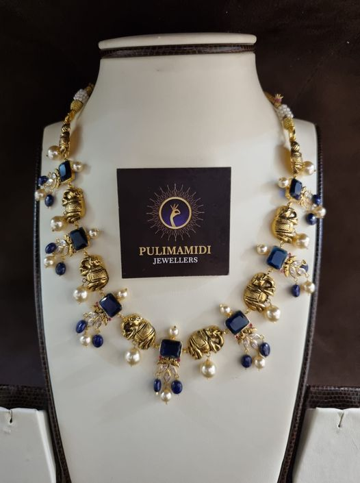 Beautiful elephant motifs 22k gold necklace. 2021-09-10