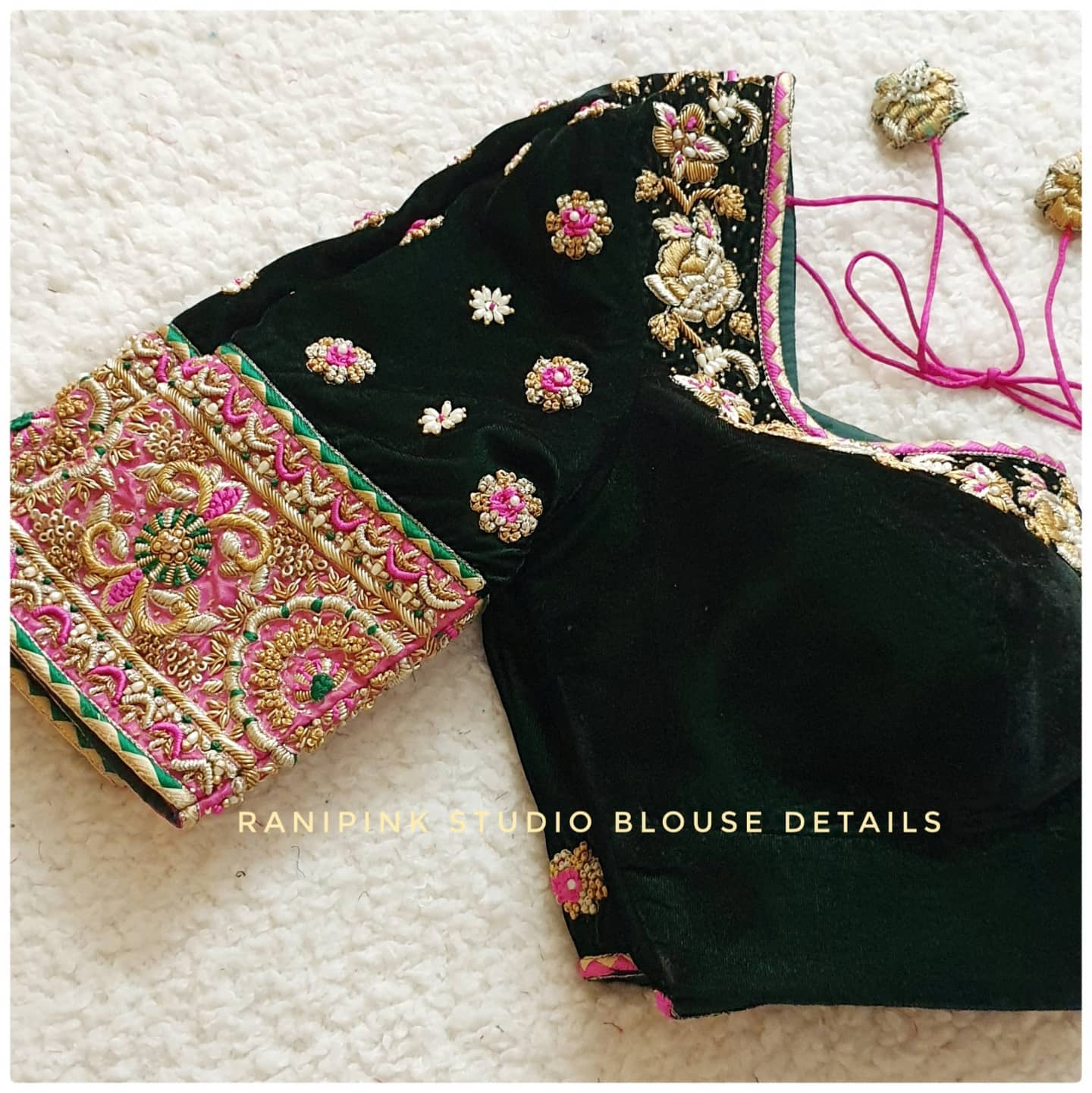 Another beautifully embroidered velvet blouse for the brides sister . Stunning bottle green color velvet cloth bridal blouse with rose floral hand embroidery maggam work.  . . For appointments call or whatapp us at 8884620620 2021-09-10