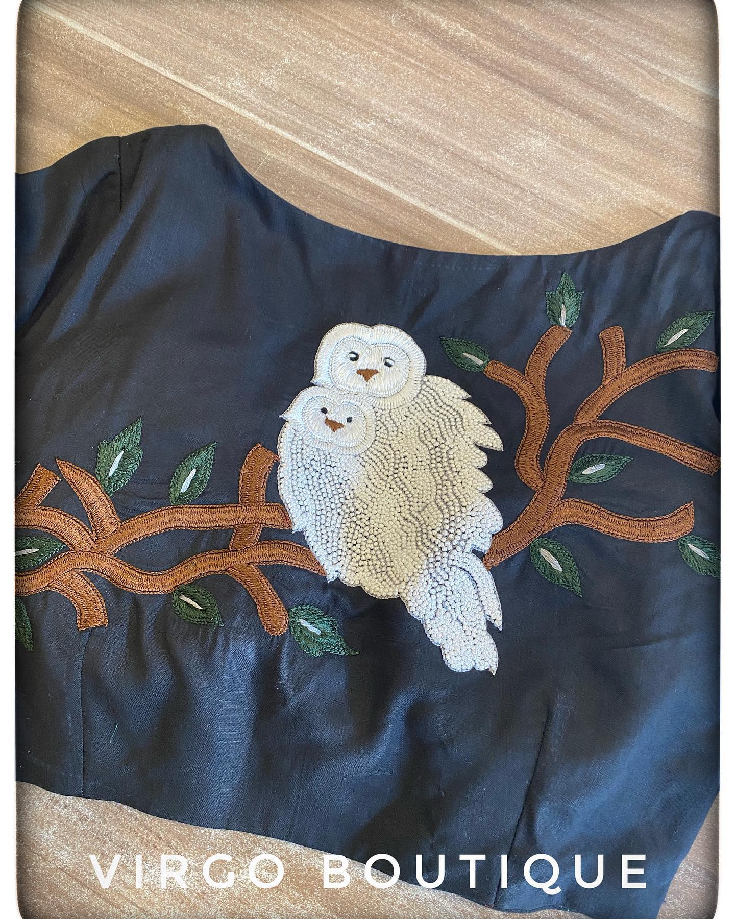 Stunning deep blue color blouse with owl hand embroidery work.  2021-09-10