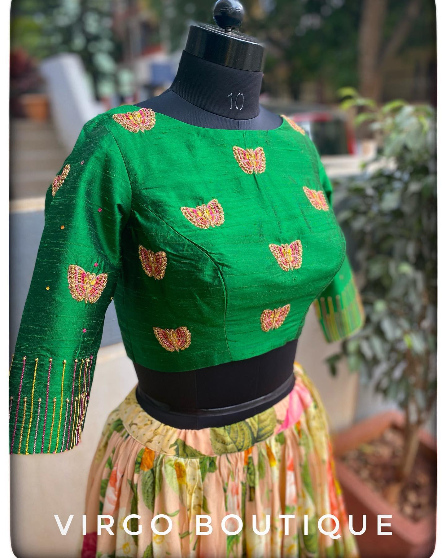 Gorgeous green color blouse with flying butterfly hand embroidery aari work.  2021-09-10