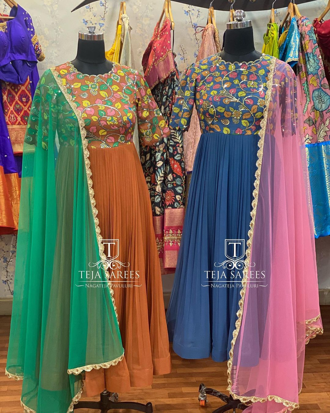 TS-DS- 715 716. Beautiful ankle length anarkali dress with hand embroidery work on yoke.   For orders/queries Call/ what's app on 8341382382 or Mail  tejasarees@yahoo.com. 2021-09-10