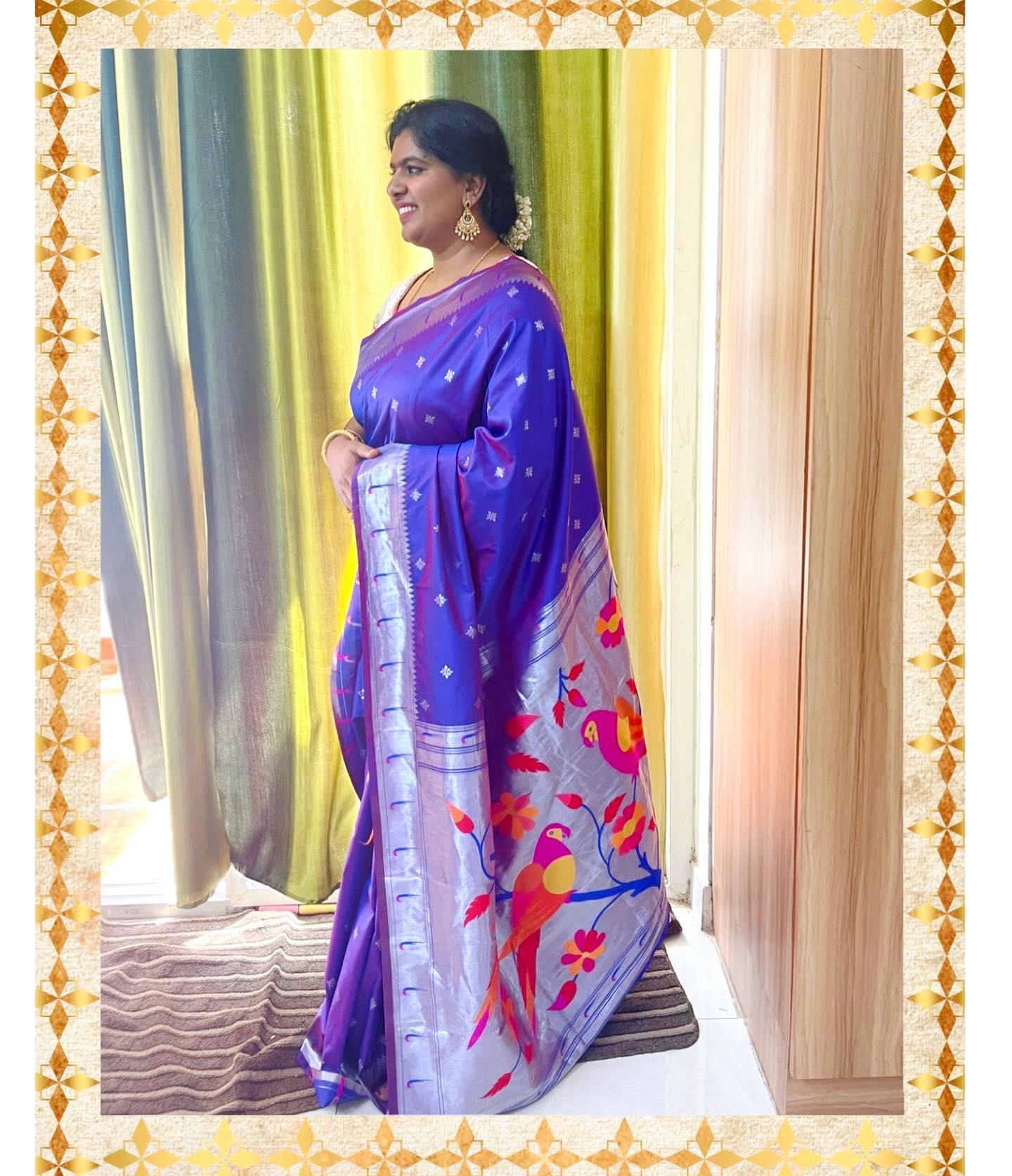 Beautiful blue color pythani look saree. Price : ₹2940. 2021-09-11