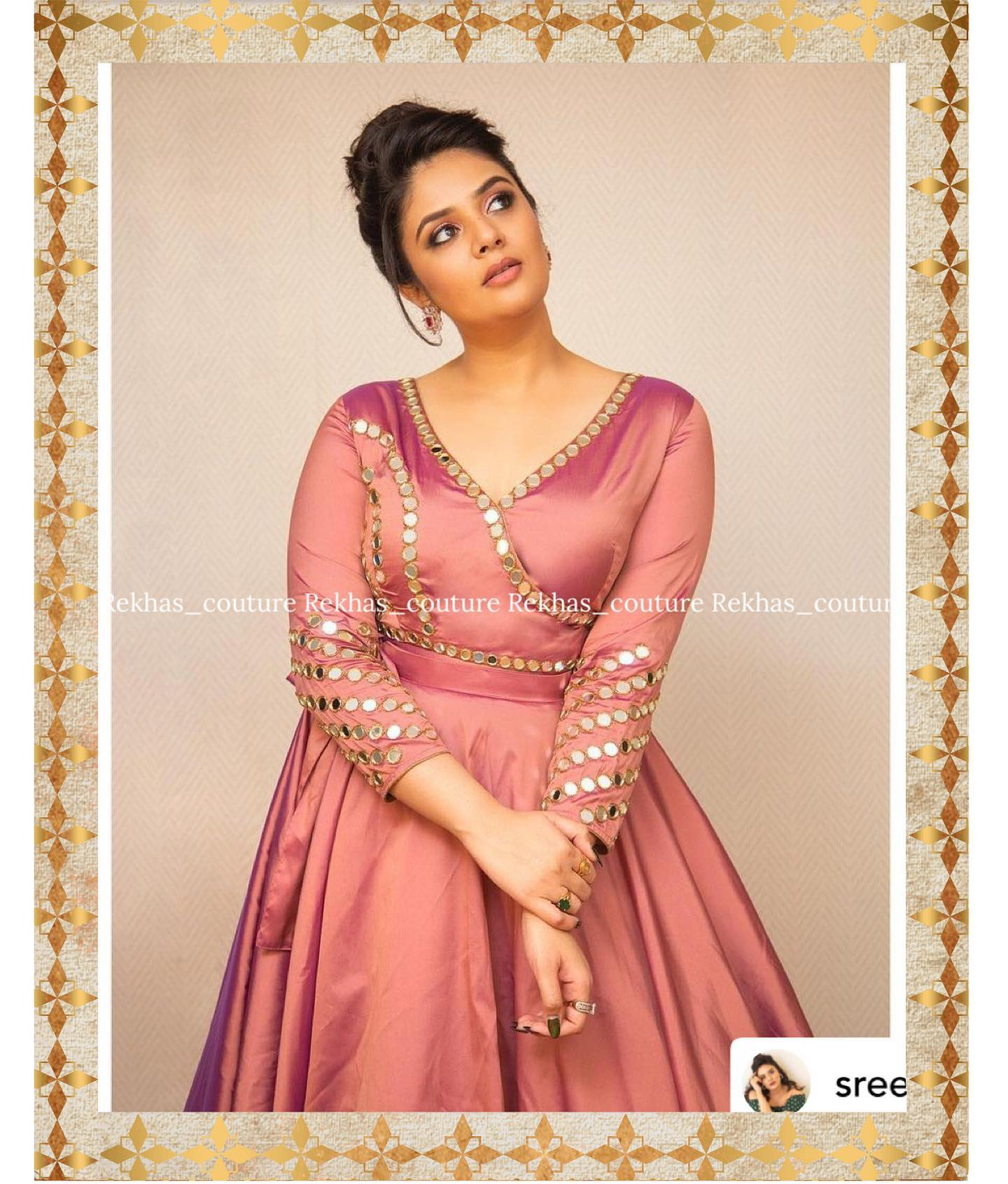 Gorgeous actress Sreemukhi in mirror work floor length dress by Rekhas house of coutures. 2021-09-11
