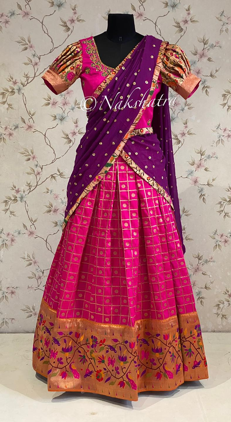 Pink and purple combi banaras lehanga with pythani  border paired with gorgette dupatta . 2021-09-11