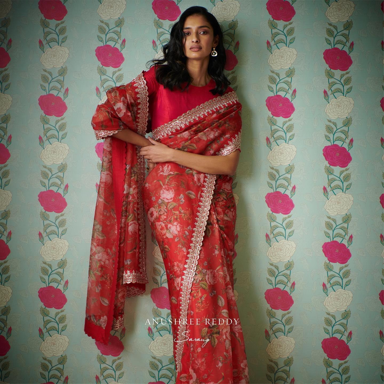 Beautiful red color floral saree. 2021-09-11