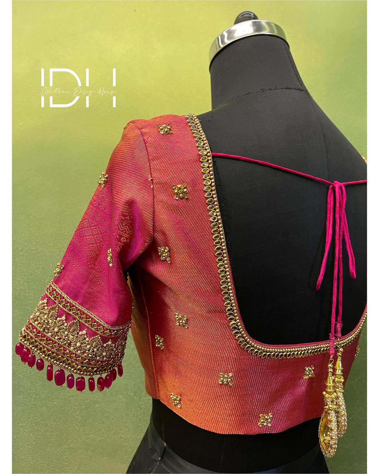 Gorgeous pink brocade blouse with bead and kundan aari work on neckline and sleeves. 2021-09-12