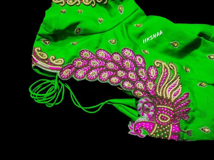 Gorgeous parrot green color blouse with peacock hand embroidery maggam work blouse  2021-09-12