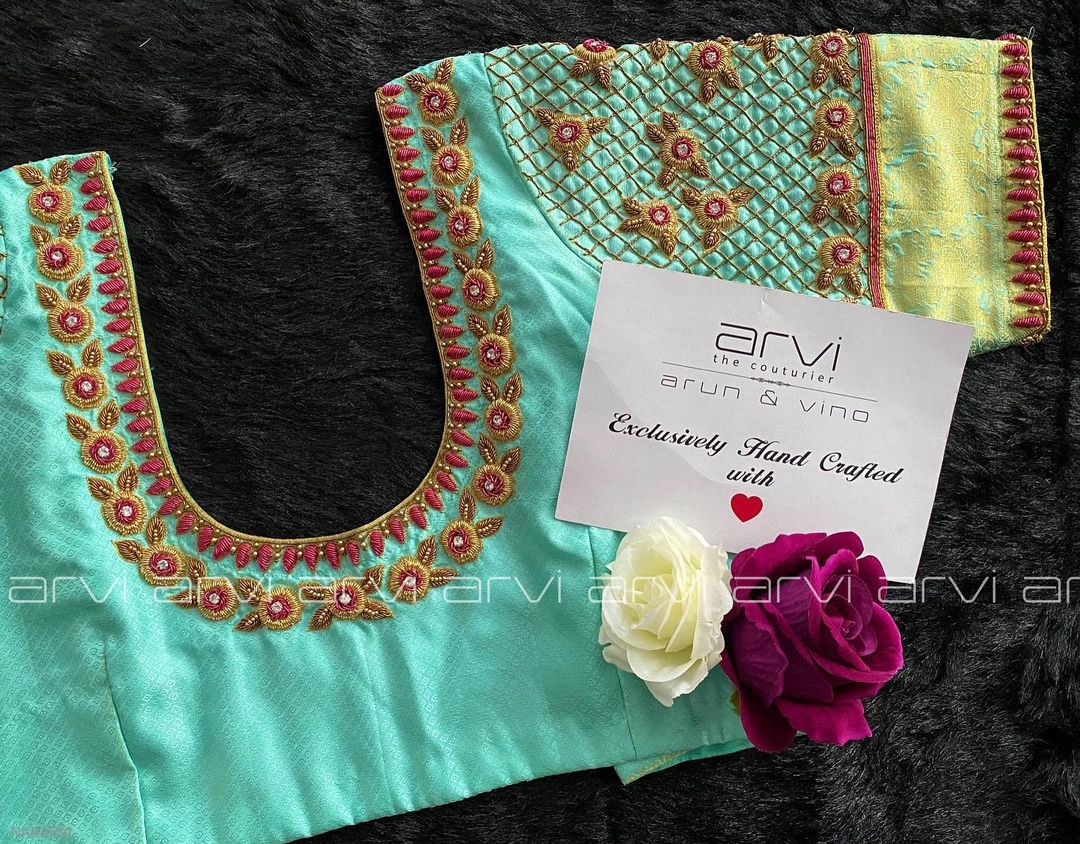 Gorgeous sea green color bridal blouse with floral gold thread maggam work. 2021-09-12