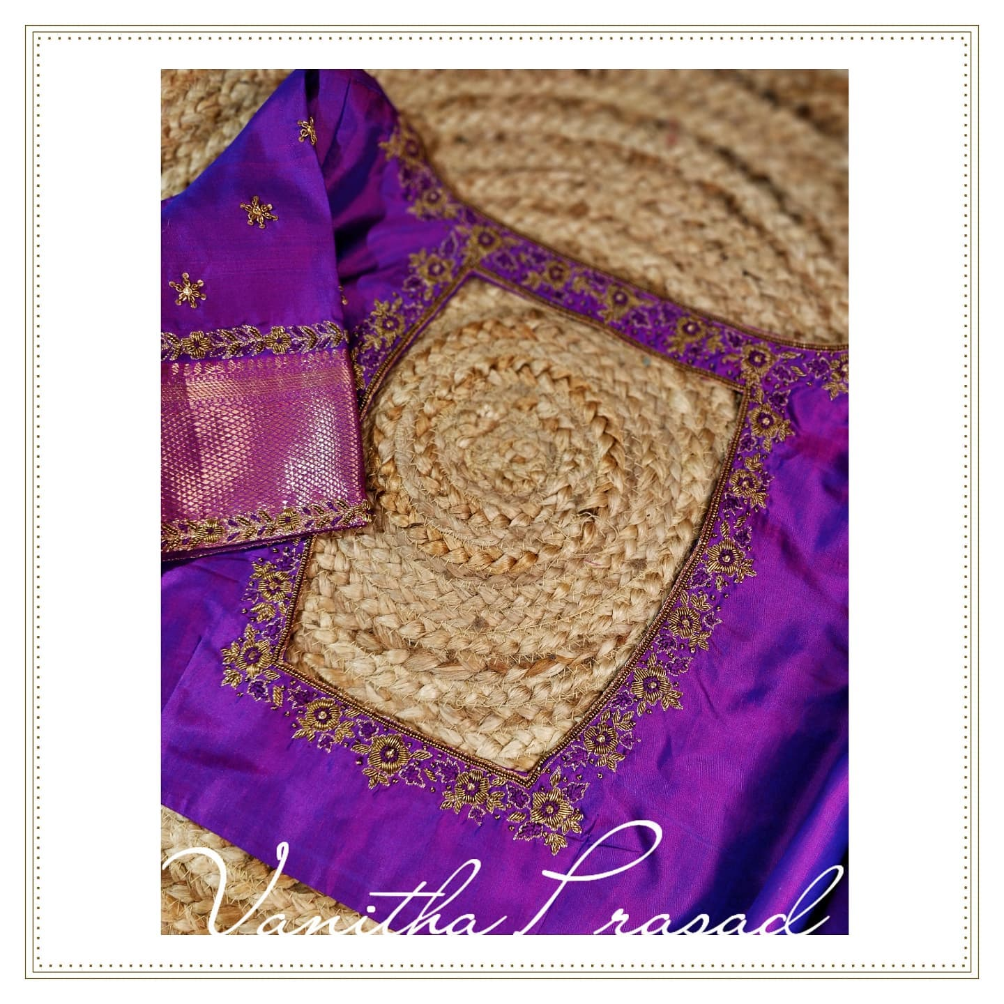 Beautifully hand crafted blouse works. Gorgeous purple color blouse with floral hand embroidery gold thread maggam work.  2021-09-13
